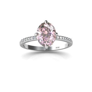 14K White Gold Ring Pink Kunzite White Diamonds Engagement Ring