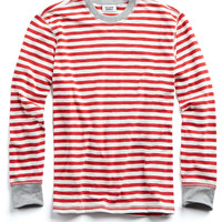 Sleepy Jones Keith Rugby Long John Shirt in Red Stripe