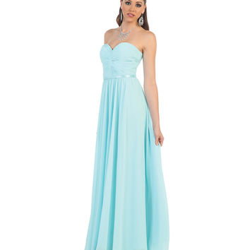 Aqua Blue Strapless Corset Back Dress 2015 Prom Dresses