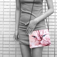 Ginger Kitty Grumpy Evil Cat Face Print Rectangular Shaped Cross Body Bag | Gifts for Cat Lovers