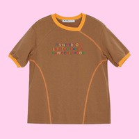 BLUEerror Color Embroidered Tee | Brown/Pink