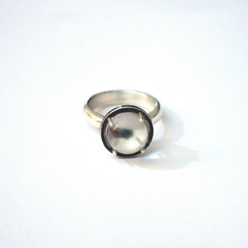 Pools of Light Ring, Undrilled Quartz Sphere, Sterling Silver, Rock Crystal Ball, Lens Cocktail Ring, Orbital Ring, Made to Order