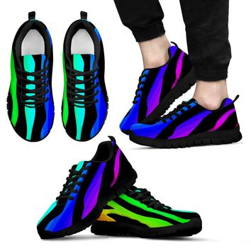 Bright Rainbow Stripe Men's Tennis Shoes with Black