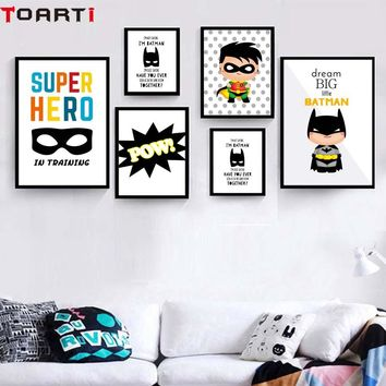 Superhero Pow Kids Room Decoration Dream Big Wall Art Poster And Prints Modern Canvas Painting Modular Wall Picture For Bedroom