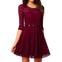 LaLaMa Womens Lady Crew Neck Sexy Floral Lace 3/5 Sleeve One-piece Dress Red L