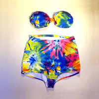 Tie Dye Bathing Suit High Waisted Bandeau Swimsuit for Women