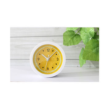 Countryside Refreshing Cool Fruit Lemon Alarm Clock Simple Desk Clock Table Clock Bedroom Study Lazy Clock  yellow