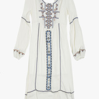White Embroidered Puff Sleeved Maxi Dress