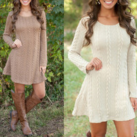 Long Sleeve Winter Knit Tops Sweater Round-neck Twisted One Piece Dress [9143596804]