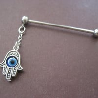 Dangle Industrial Barbell Upper Ear Piercing Blue Hamsa Turkish Evil Eye Hand of Fatima Charm