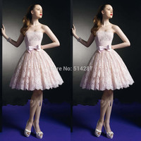 2015 Vestido De Festa Curto Strapless Short A Line Hot Pink Lace Cocktail-Dresses Mini Party Dress New Fashion