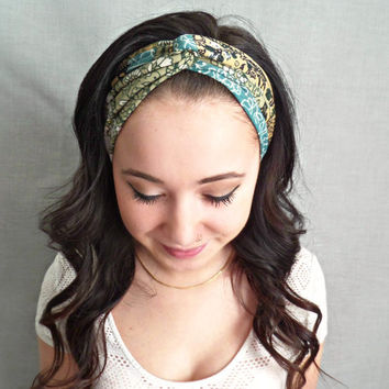 Turban Headband , Green Turban, Printed Headwrap, Bohemian Hair Accessories