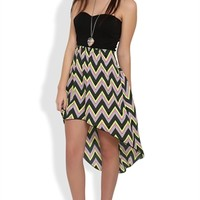 Strapless Dress with Open Back and Tribal Chevron High Low Skirt