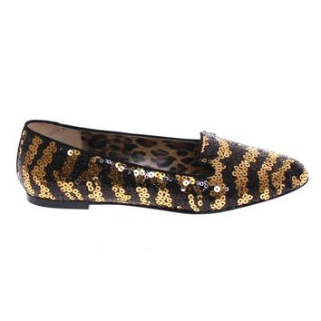 Dolce & Gabbana Black Gold Sequined Ballet Flat Shoes
