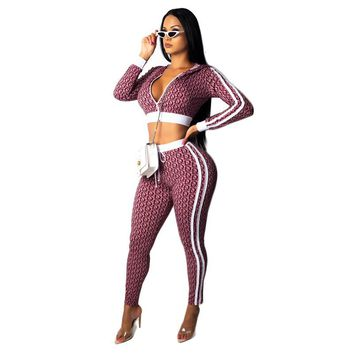 Sexy Letter Print Zipper V Neck Skinny Bodysuit Women Full Sleeve Hooded Crop Tracksuit Jumpsuit High Waist 2 Piece Set Overall
