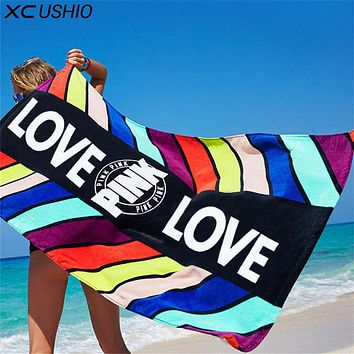 XC USHIO 70*145cm Pink Soft Cotton Beach Towel Travel Swimming Bath Towel Yoga Office Sofa Blanket Wall Tapestry Toalla Playa