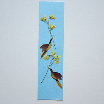 "Handmade unique bookmark ""Valentine's Day in the world of birds"" - Decorated with dried pressed flowers and herbs - Original art collage."