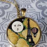 Resin Pendant with Moonover Paris Eiffel Tower necklace with  Brass Chain Romantic and sweet necklace for her