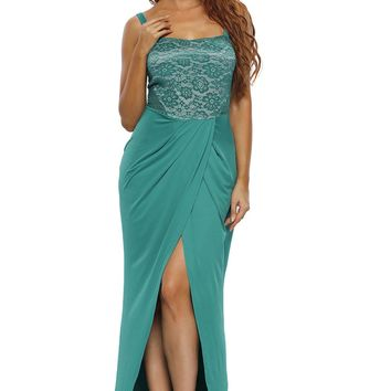 Chicloth Green Lace Bustier Top Split Maxi Party Dress