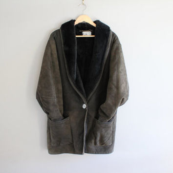Holt Renfrew High End Lambskin Leather Shearling Coat Dark Brown Boho Slouchy Cocoon Coat Vintage 80s Size L  #O203A