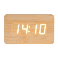 Zlyc Fashion Sound Control Led Wooden Alarm Clock with Time Temperature Display