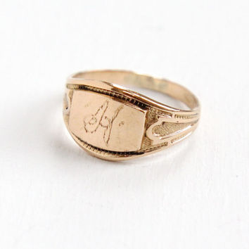 Antique Monogrammed H 14k Rose Gold Shell Ring - Vintage Size 6 1930s Art Deco Etched Signet Personalized Gold Filled Jewelry