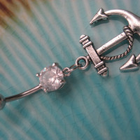 Anchor Belly Button Jewelry- Nautical Charm Navel Ring Piercing Silver Tone