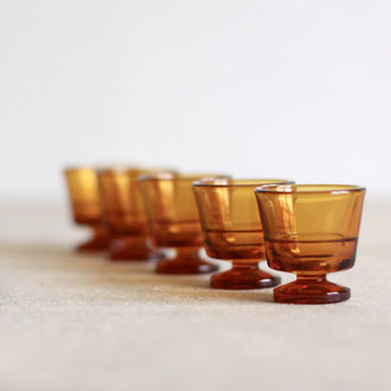 Vintage Duralex amber cordial glasses set of 5 by voladoravintage
