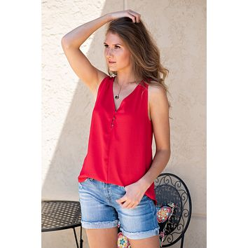 Fire it Up V-Neck Tank: Red