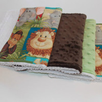 Baby Burp Cloths/Minky Cotton Jungle Babies /Brown/ Set of 4
