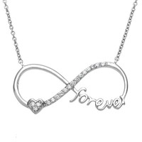 "Sterling Silver 16+2"" ""Forever"" Heart CZ Infinity Necklace"
