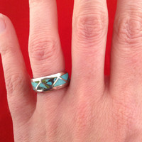 Navajo Indian Turquoise Ring from Sourth Western Indian Reservation