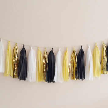 Yellow, Black and Gold Tassel Garland - Gatsby Decor, Party Decor Banner, Birthday Decoration, Wedding Decor, Baby Shower & Photo Prop