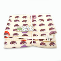 Outfoxed Plum Hedgehogs Baby Woobie Blanket w/ Cream Minky Dot Chenille