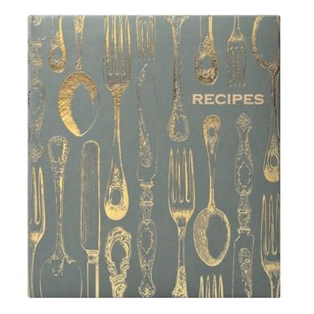 Vintage Utensils Recipe Book in Gray and Gold