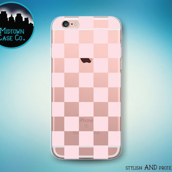 Checkerboard Pattern Soft Pink Checker Squares Transparent Clear Rubber Case for iPhone 7 Plus 7 iPhone 6s 6 Plus iPhone SE iPhone 5s 5 5c