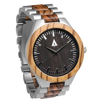 Stainless Steel Wood Watch // Silver August