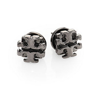 Tory Burch - Gunmetal Logo Stud Earrings/.35