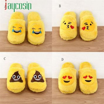 Durable Cotton slippers Shoes for winter free size Emoji Cute Cartoon home slippers Wa