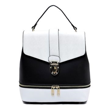 Colorblock Convertible Backpack Satchel