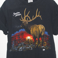 Vintage 1995 Gunnison, Colorado Moose in the Wilderness Black T-Shirt
