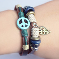Retro Beaded Genuine Leather Natural Stone Peace Sign