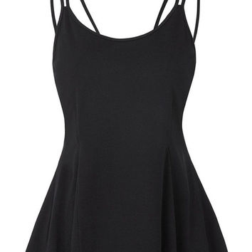 Women winter sexy women double spaghetti straps cami camisole flared tops tops high stretchy femme lace decorate plus size