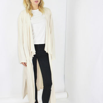 maxi sweater draped sweater long cream duster jacket open top long cardigan minimalism minimalist style large lrg l