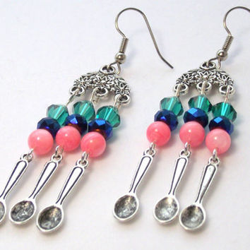 Spoonie Earrings, Thyroid Cancer Awareness Earrings, Chandelier Spoon Earrings