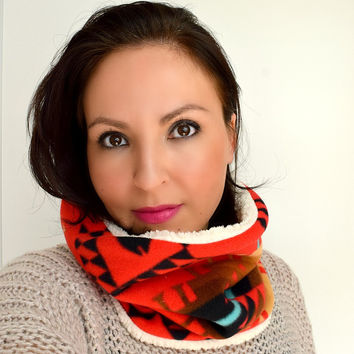 Cozy Fleece Cowl | Red Aztec & White Sherpa | Kindred Spirit Collection