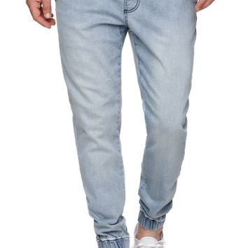 Bullhead Denim Co Dillon Skinny Light Wash Jogger Pants - Mens Pants - Blue