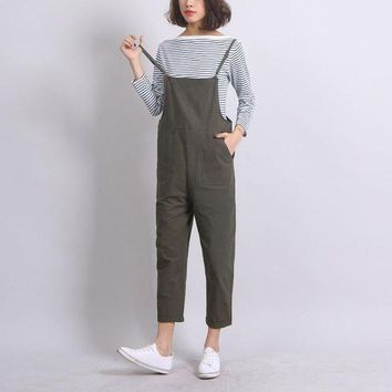DCCKFV3 Ankle-Length Women Loose Suspender Trousers Solid Color Casual High Waist Overalls Autumn Summer Jumpsuits Female Long Pants