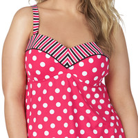 Plus Size - Stripe And Dot Print Tankini Swim Top - Coral