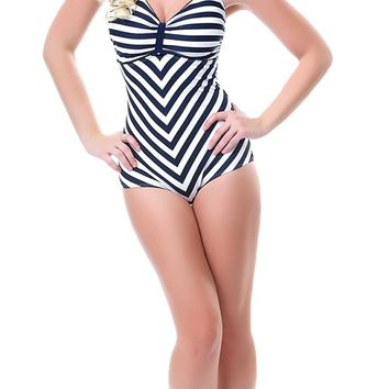 Dinah Striped One Piece Bathing Suit | Blame Betty